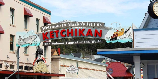 Sign welcoming you to Ketchikan, Akaska's first city.