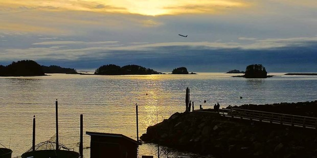 Sunset view of the sea and islands outside Sitka.