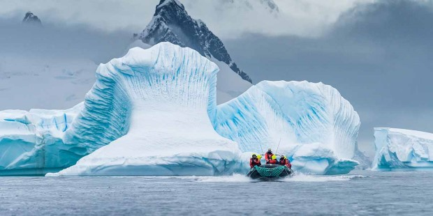 Excursion between the icebergs, Antarctica.