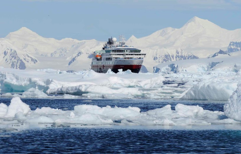 MS Fram making her way through the Gullet, the gate to Marguerite Bay, Antarctica