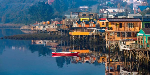 Houses on stilts in Castro, Chiloe Island, Patagonia, Chile