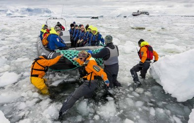 Landing with the Expedition Team on Cuverville Island, Antarctica.