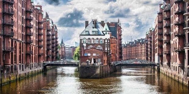Canal in historic Speicherstadt, Hamburg.