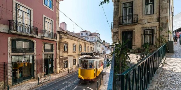Tram in the steep streets of Lisbon