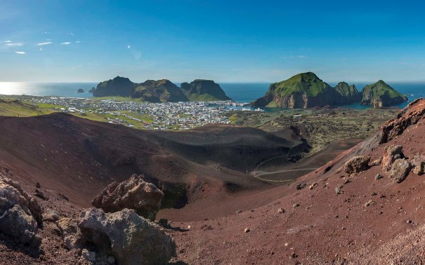 View from Eldfell volcano, Iceland