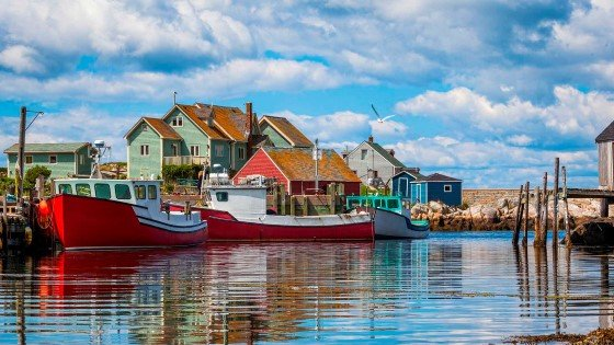 Summer view of houses and harbour at Peggy's Cove, Nova Scotia