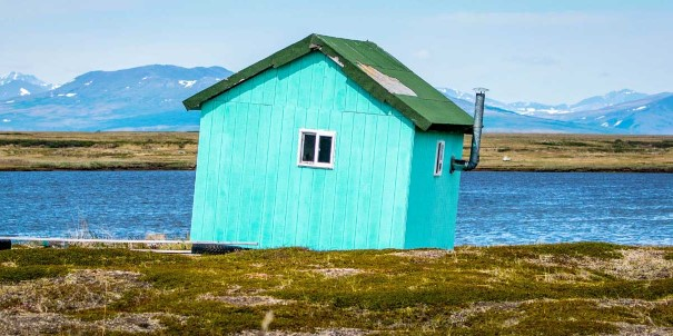 A small wooden house from the gold rush era in Nome.