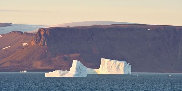Icebergs floating in Baffin Bay