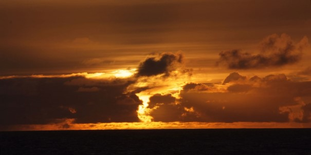 Beautiful sunset, Denmark Strait, between Iceland and Greenland