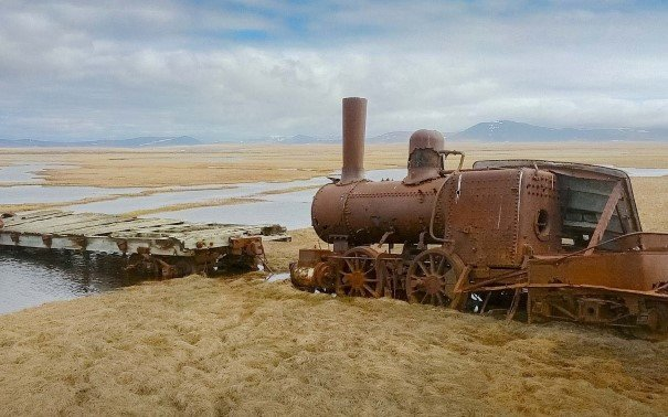 Old train in Nome, Alaska