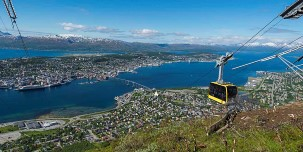 Tromsø city and sea view from Fløya and the Fjellheisen Cable Car.
