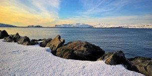 Winter sea landscape at Sørøya, great for hiking and beautiful views.