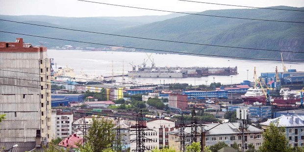 View of Murmansk, Russia, founded in 1916.