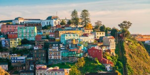 Colourful buildings in the UNESCO World Heritage city of Valparaiso, Chile.