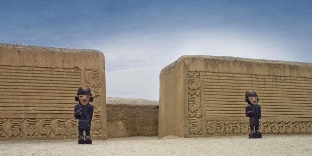 Totems from Inca period of Peru at ancient city of Chan Chan.