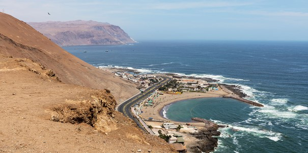 Ocean view from the cliffs in Arica, Chile.