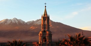 Arequipa Cathedral is overlooked by the El Misti volcano.