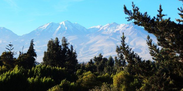 View of snow-capped volcanic peaks surrounding Arequipa.
