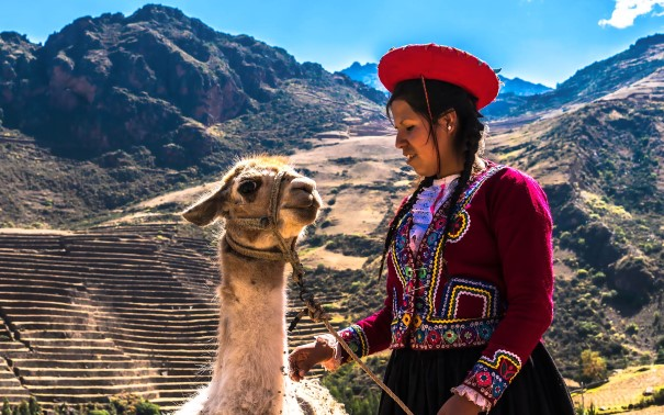 Woman in traditional clothing standing next to a llama, mountains in the backround.