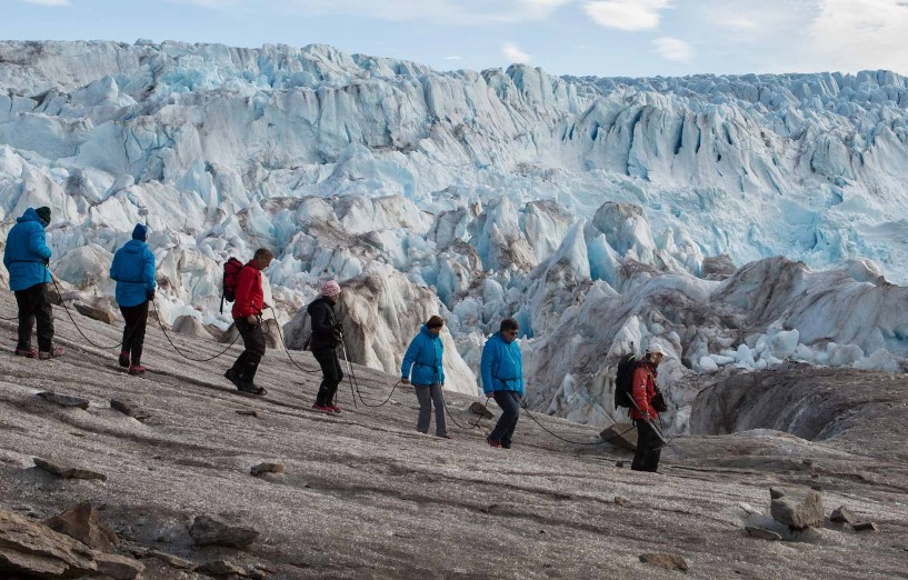 Hiking by the Conway Glacier, in Spitsbergen, Svalbard