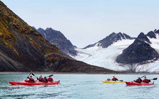 Kayaking in the Magdalenefjord, Svalbard