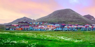 View of Longyearbyen, a surprisingly cosmopolitan frontier town.