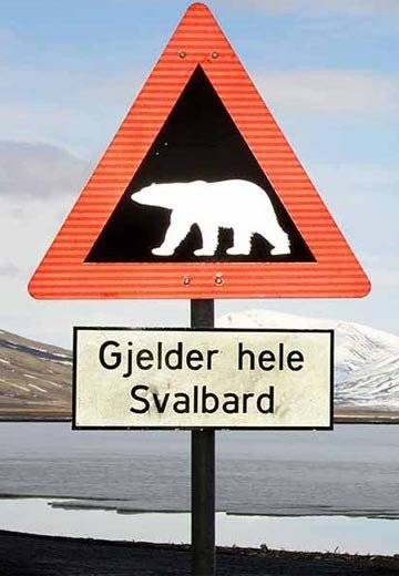 Polar bear sign near Longyearbyen, Svalbard