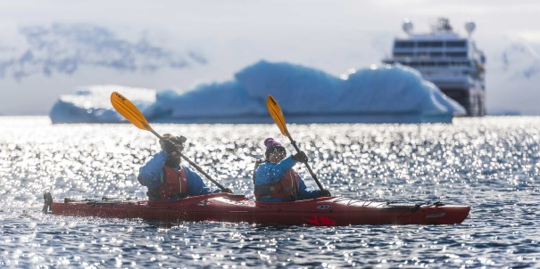 Go kayaking outside Cuverville Island, Antarctica. Our ships are built and designed to meet the needs of modern explorers – both on and off board.