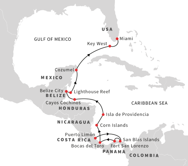 Expedition In The Caribbean Sea Puerto Limon Miami