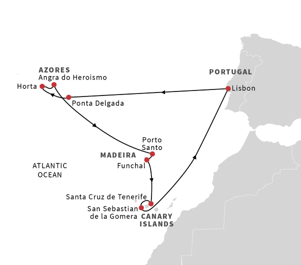 Cruise from Lisbon to the Azores, Madeira and Canary Islands ...