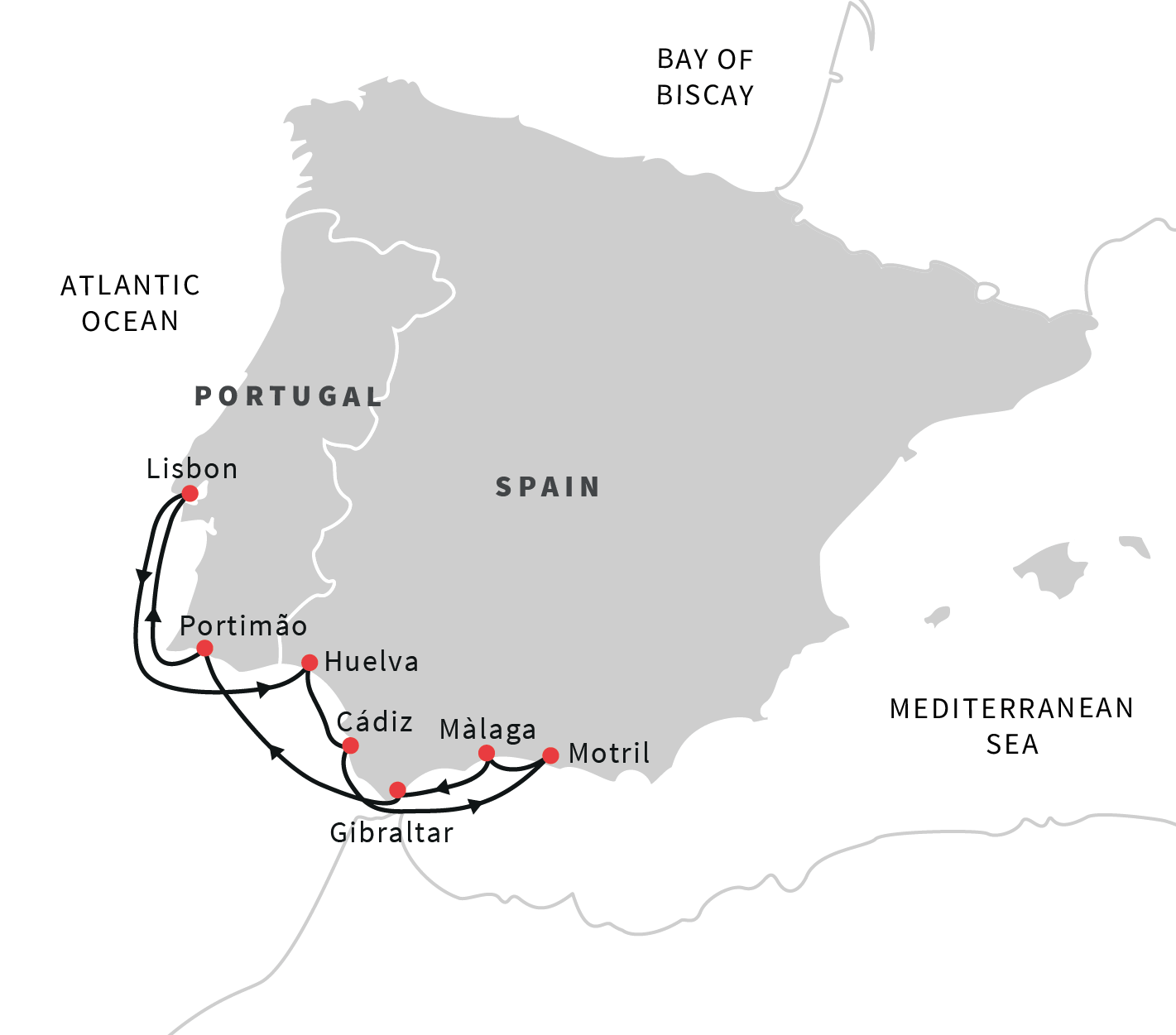 Map Of Spain Andalucia.Cruise The Coast Of Algarve And Andalucia Lisbon Roundtrip
