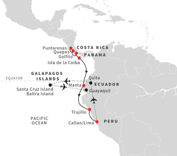 South America Map Galapagos Islands.Cruise The West Coast Of South America W Tour To Galapagos Islands