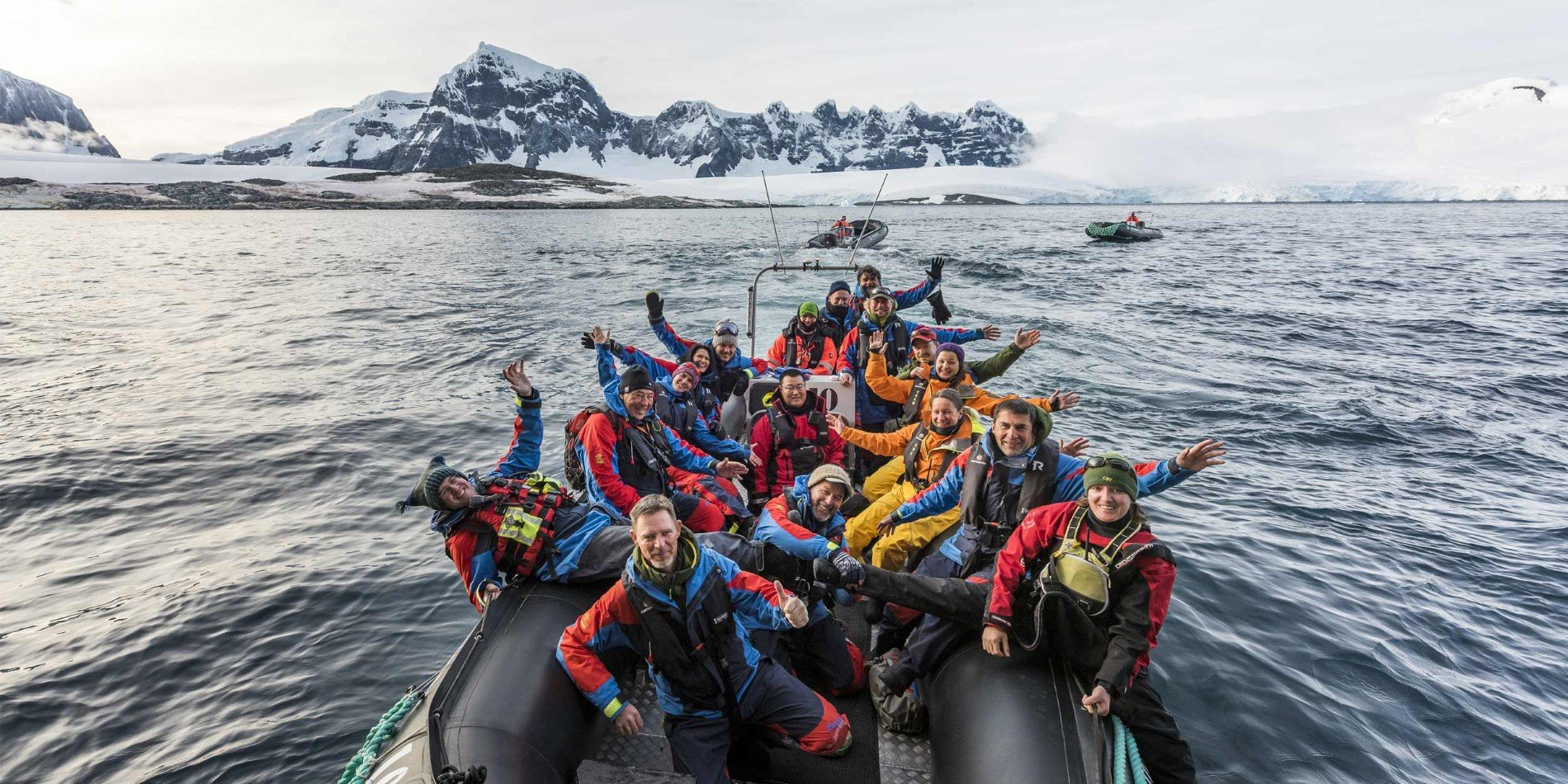 The Expedition Team cruising at Damoy Point, Antarctica
