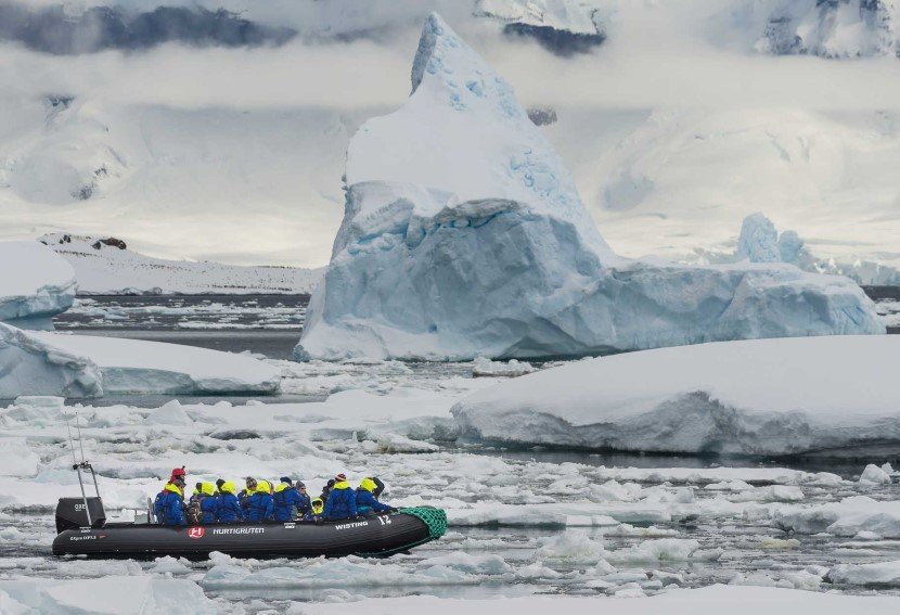 Exploring the icebergs around Cuverville Island, Antarctica