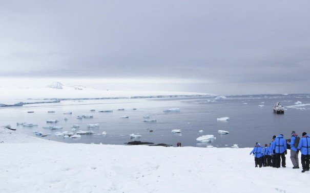 Returning from a hike in Brown Bluff, Antarctica