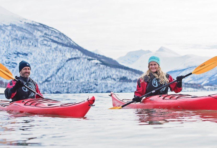 Kayak adventure, just one of many excursions on your cruise in Norway