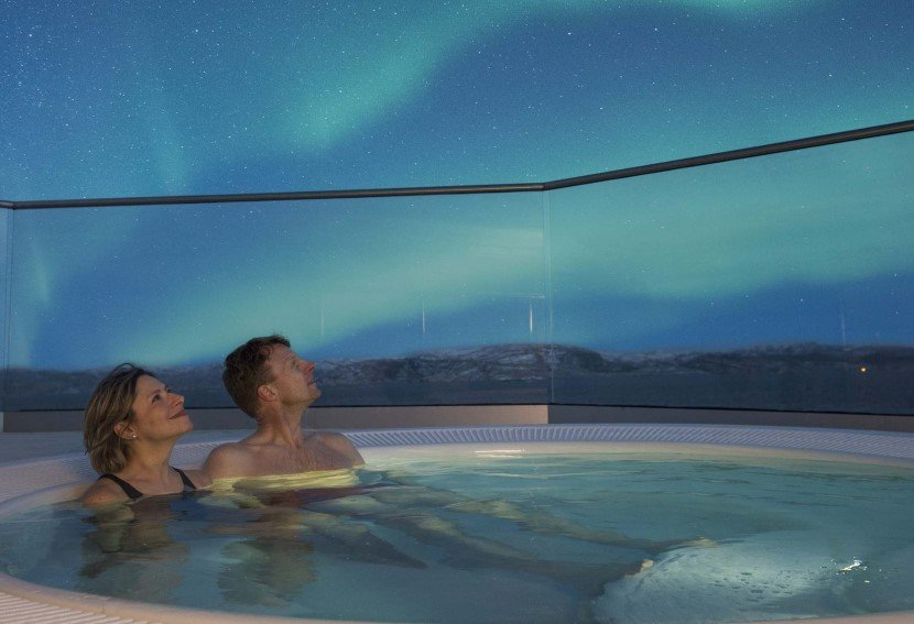 Enjoy the Northern Lights from a Jacuzzi