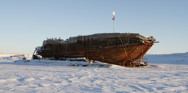 Shipwreck remains of the Maud, near Cambridge Bay, Nunavut, a ship built for Roald Amundsen for his second expedition to the Arctic.