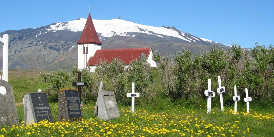 Church at Hellnar with Snaefellsjökull in the background