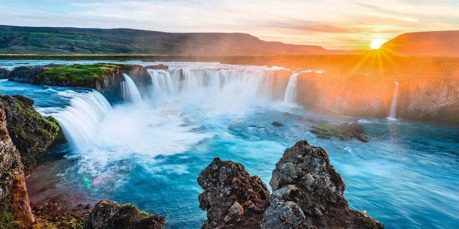 Godafoss waterfall - one of the most spectacular waterfalls in Iceland