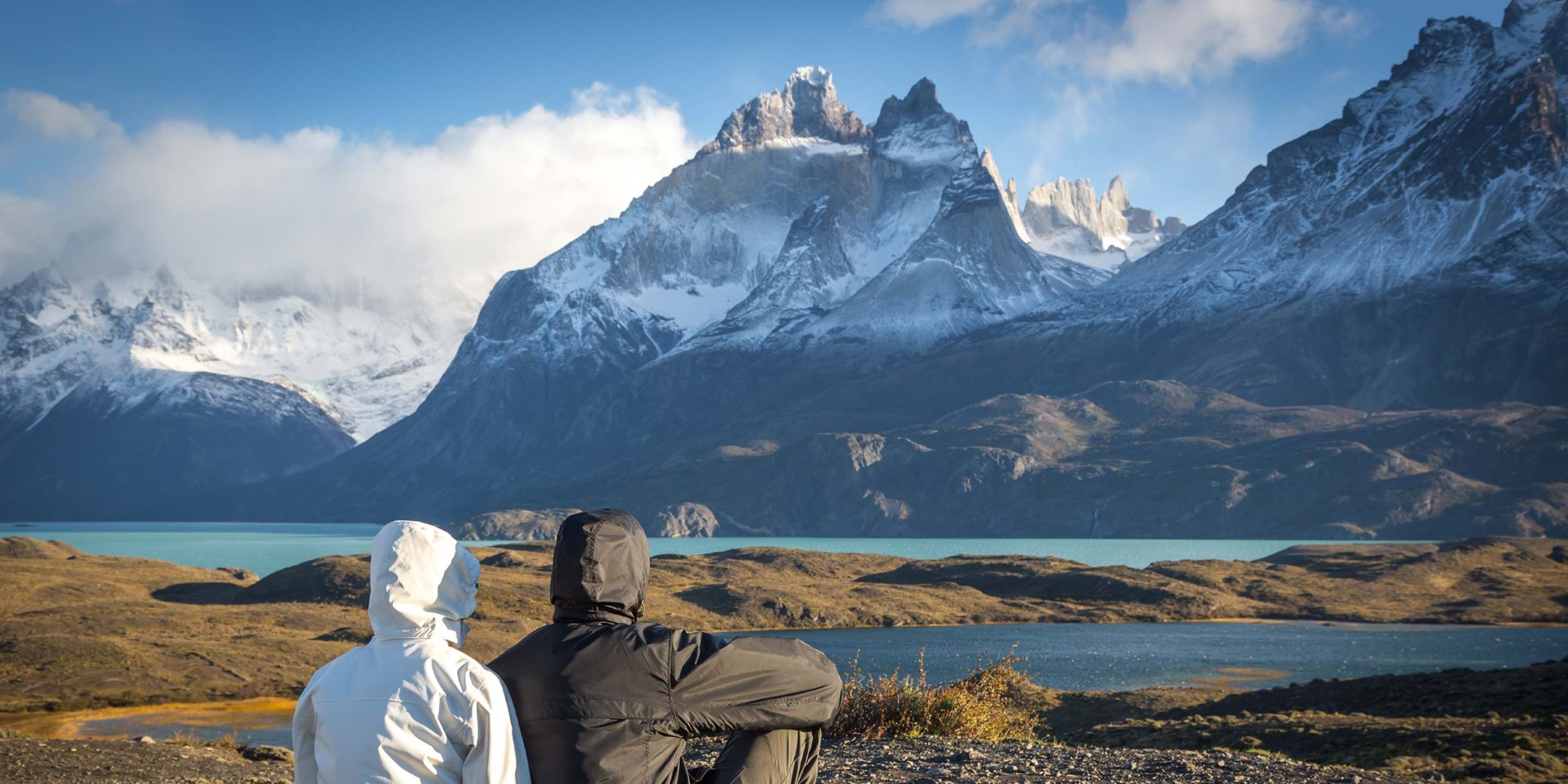 Enjoy the view of mountains covered by ice in Torres del Paine