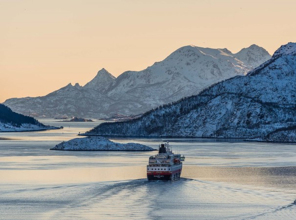 MS Richard With in Raftsundet, just one of the many remarkable destinations on the classic Hurtigruten voyage from Bergen.