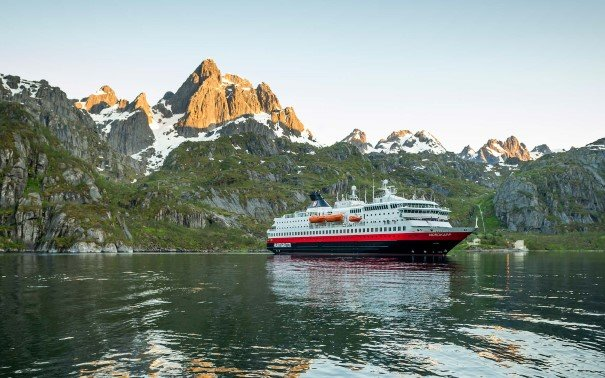 MS Nordkapp makes a turn in the Trollfjord