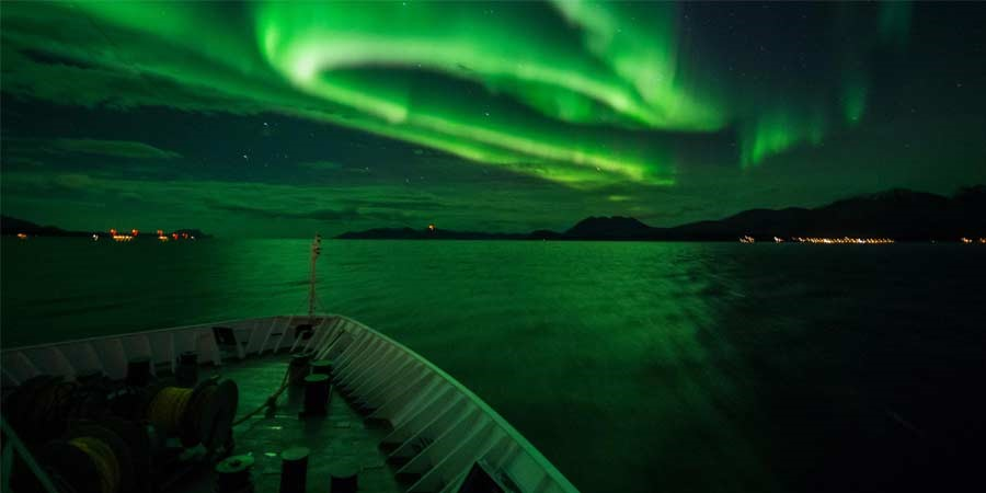 Northern Lights from deck on board Hurtigruten