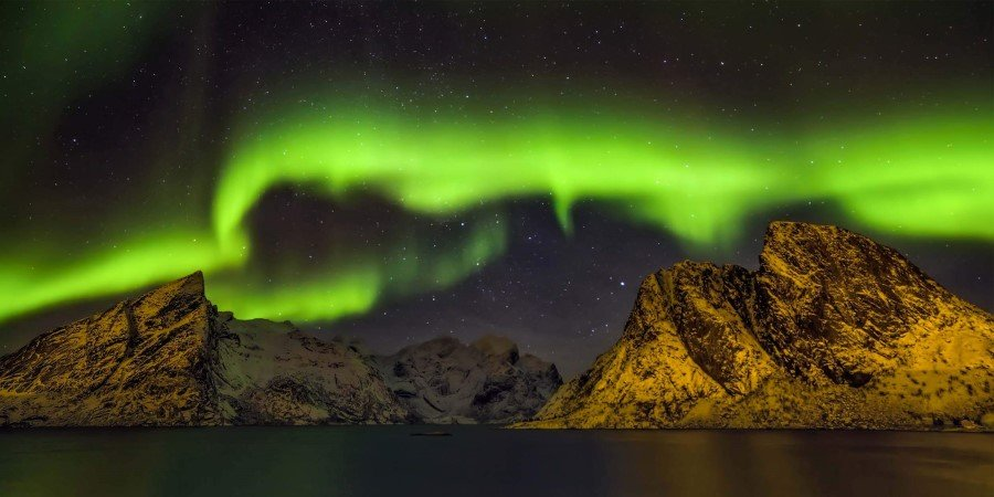 Northern Lights over Steinfjord, Senja, in the Lofoten-islands, Norway