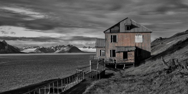 The Russian settlement Barentsburg, home to about 500 people.