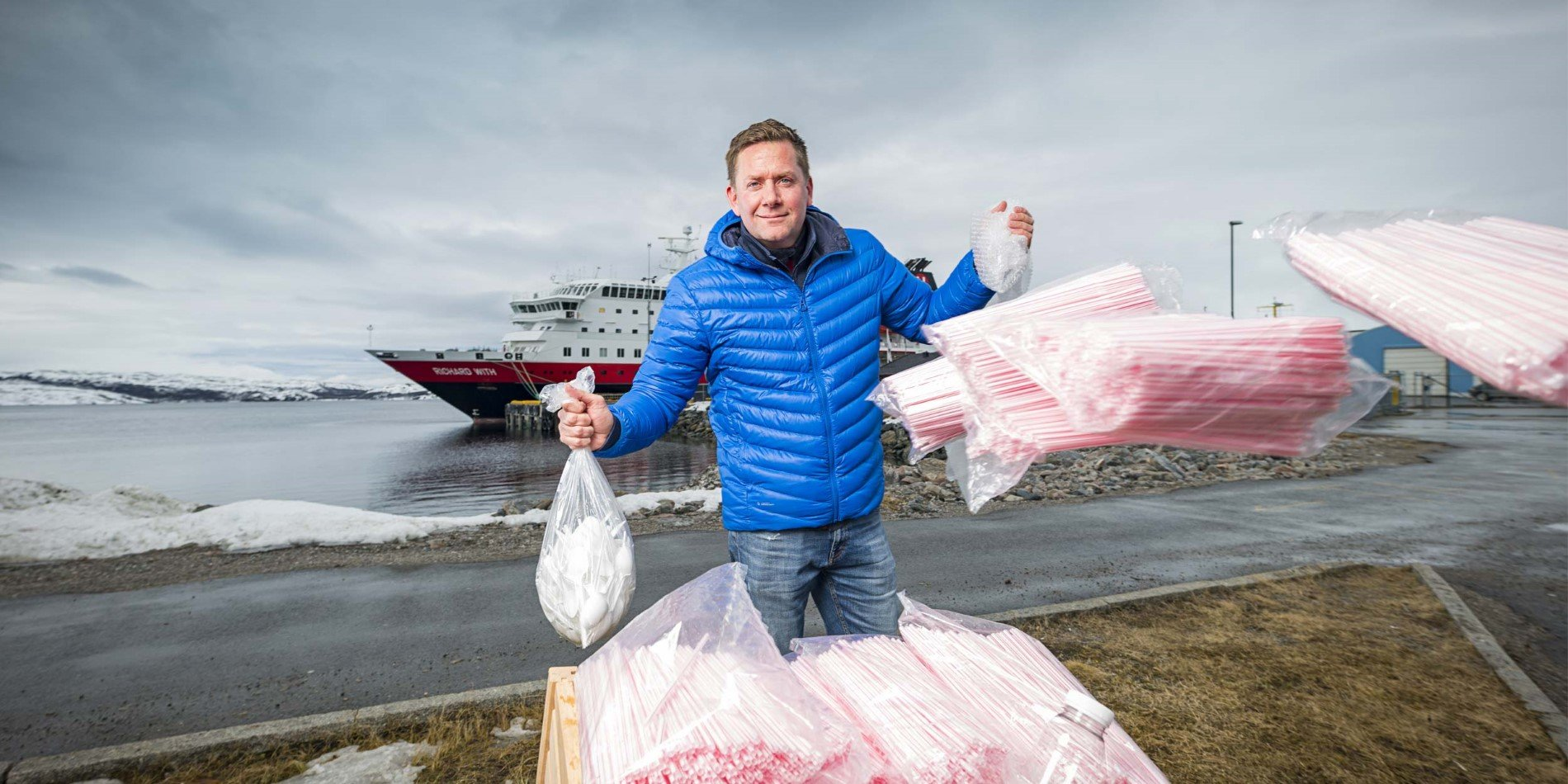 PLASTIC BAN: One million plastic straws a year are among the single use plastic items that will removed from all Hurtigruten ships this summer, as the company imposes a ban on single use plastic. Hurtigruten CEO Daniel Skjeldam, Hotel Manager Kristian Skar and rest of Hurtigruten employees are already removing plastic items from MS Richard With (in the background) and other Hurtigruten ships.